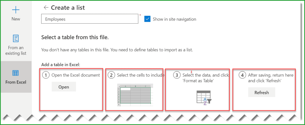 create list from excel in sharepoint online