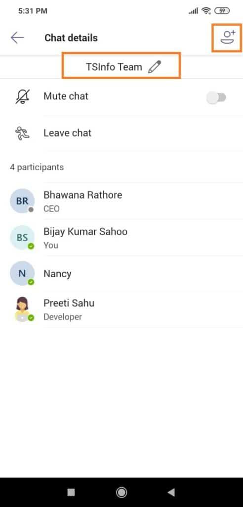 group chat in microsoft teams app