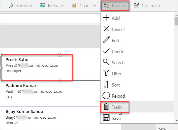 person field using powerapps