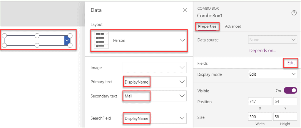 power apps person field using combo box
