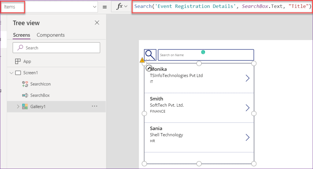powerapps search function example