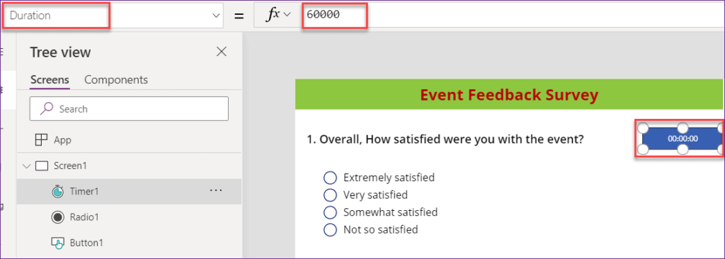 add powerapps timer control