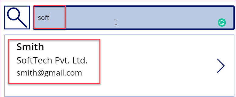 powerapps search function using sharepoint list
