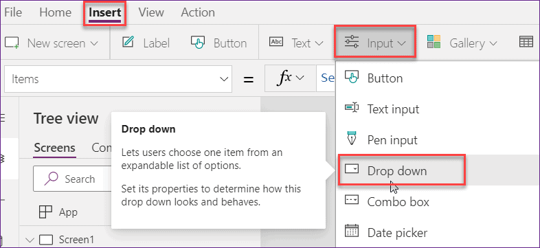 powerapps searchable dropdown