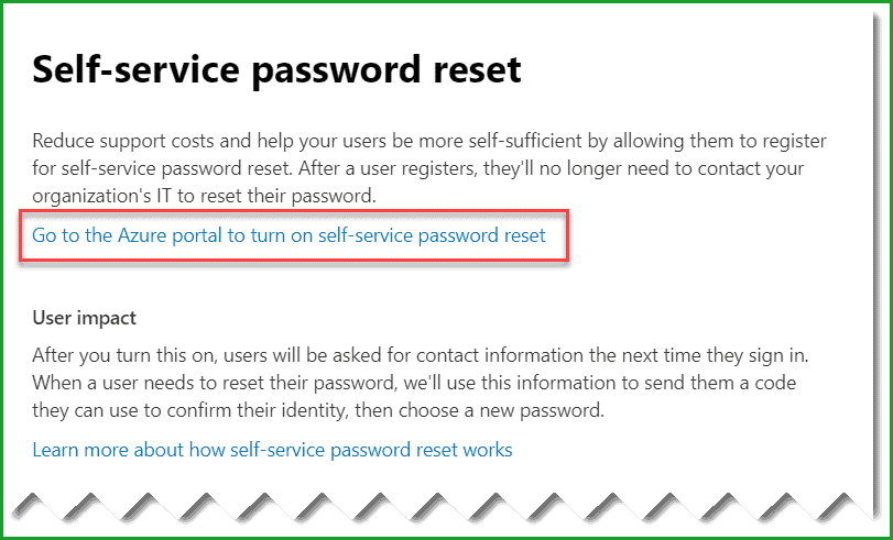 Office 365 disable self service password reset