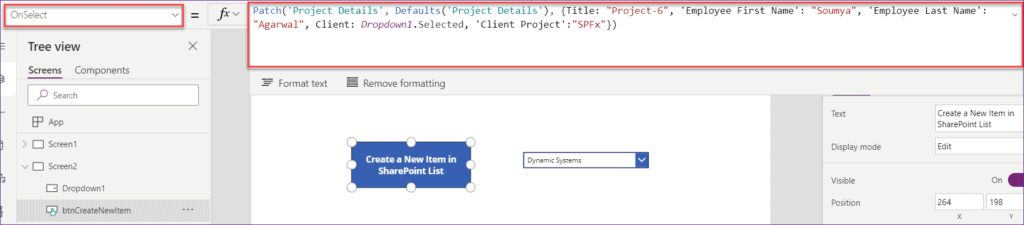 PowerApps Patch Sharepoint List New Item