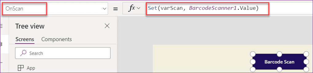 Powerapps Barcode Scanner onscan