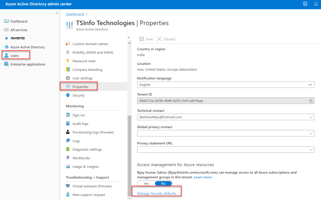 Set Enable security azure