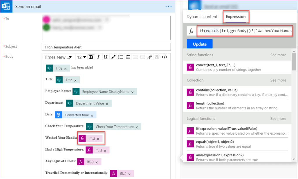microsoft flow change true to yes