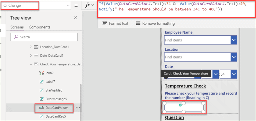 how to validate temperature field in powerapps