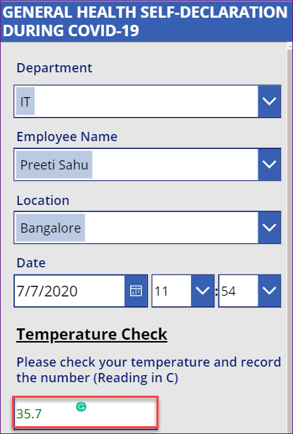how to validate temperature value in power apps