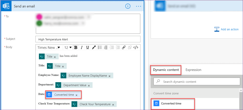send email shows wrong time in microsoft flow
