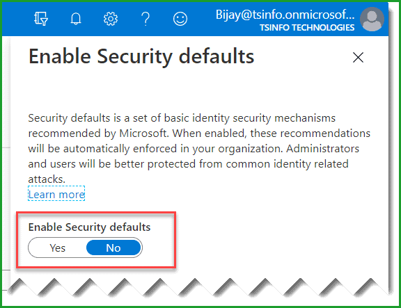 set Security defaults no