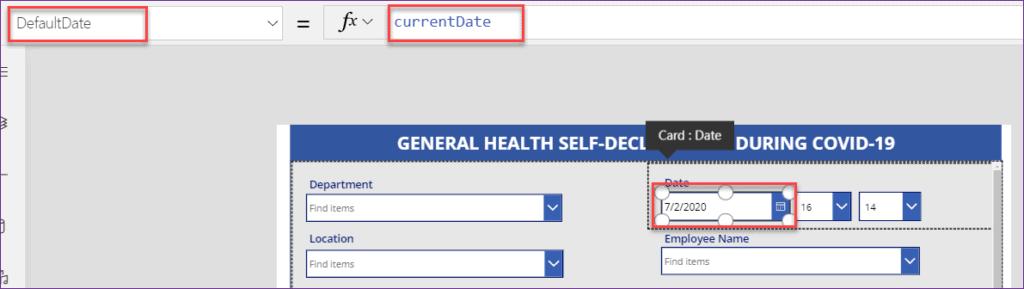 set default date in power apps