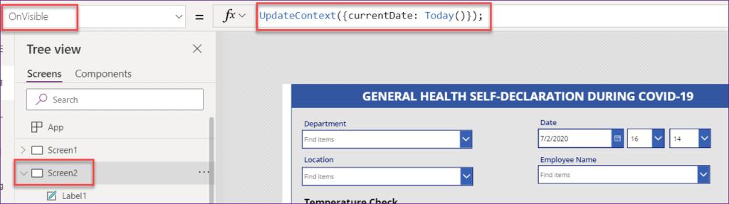 set default date in powerapps
