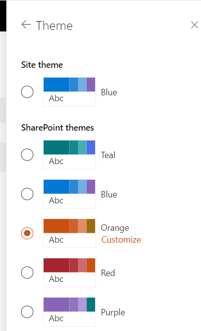 Default SharePoint Online themes