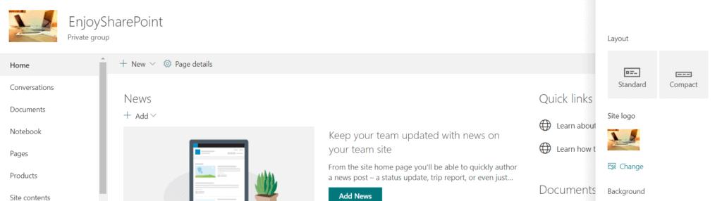 Change SharePoint Modern Site theme