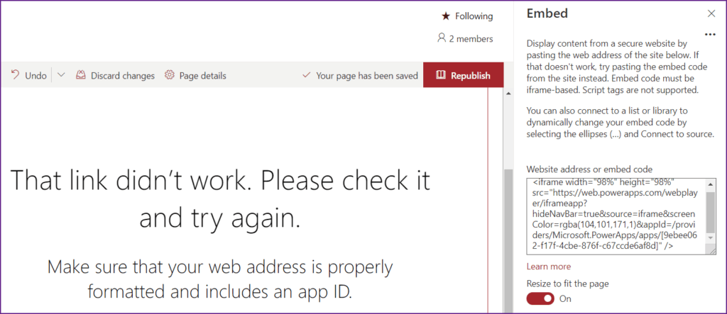 that link didn't work please check it and try again embed powerapps on SharePoint Page