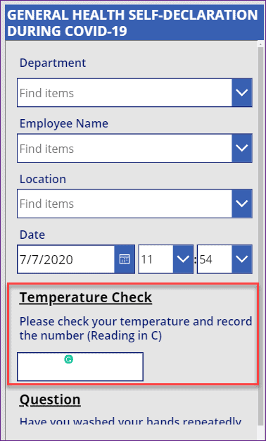 validate temperature field in powerapps
