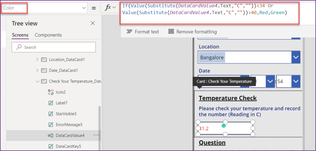 validate temperature field value in powerapps