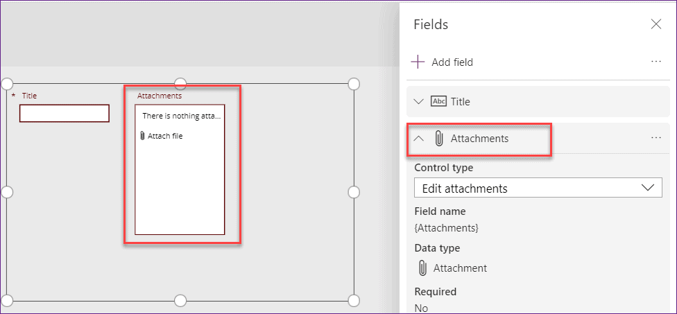 Add Attachment Control in Powerapps