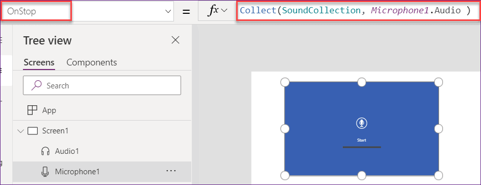 Add PowerApps Microphone audio record to a Gallery control