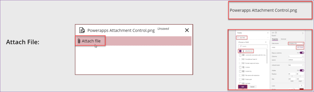 Custom attachment control in Powerapps