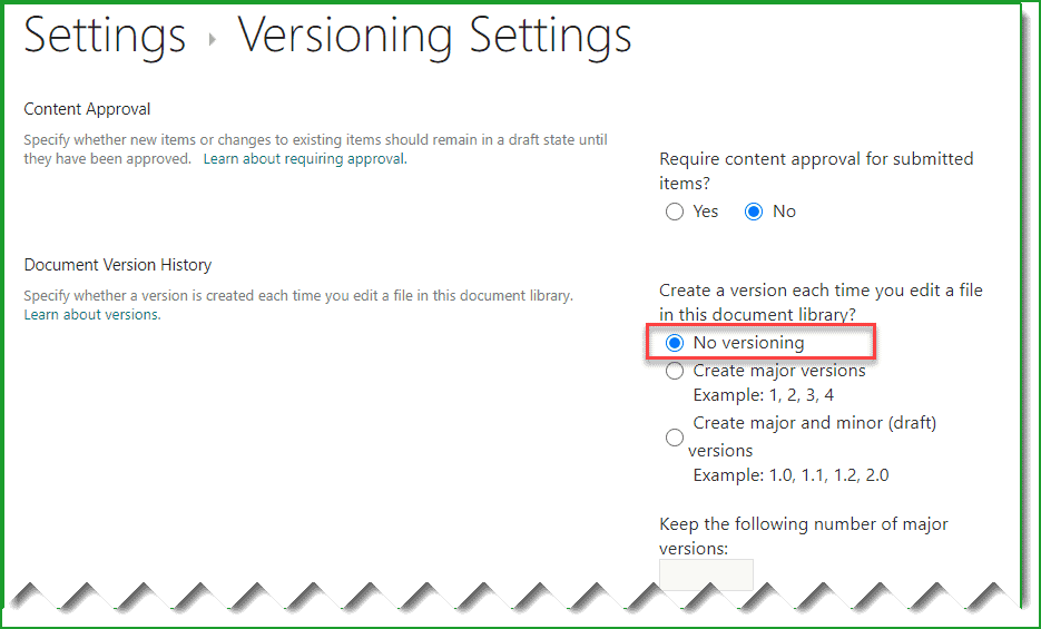 Disable versioning in SharePoint Online using PnP PowerShell