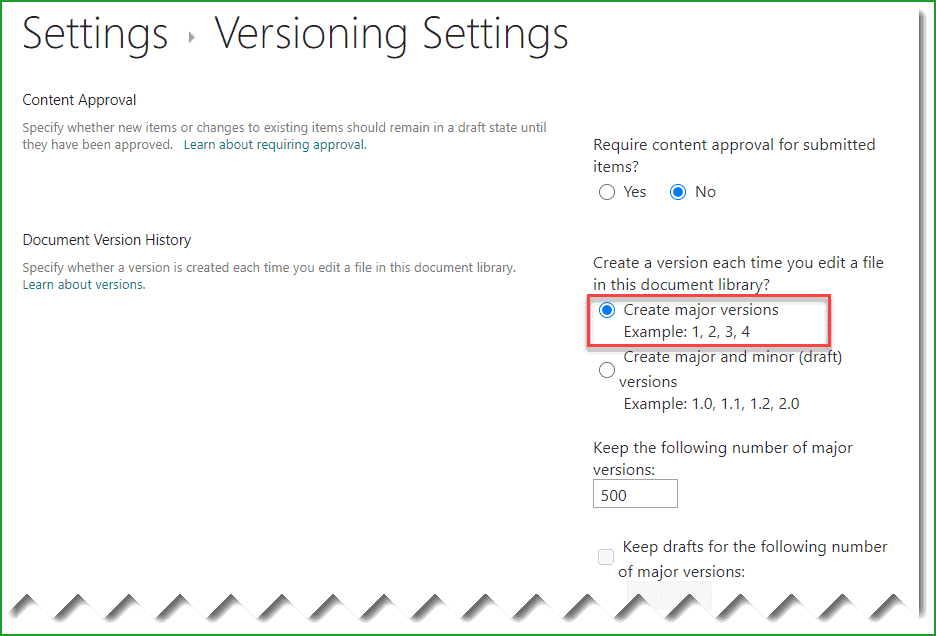 Enable versioning in document library