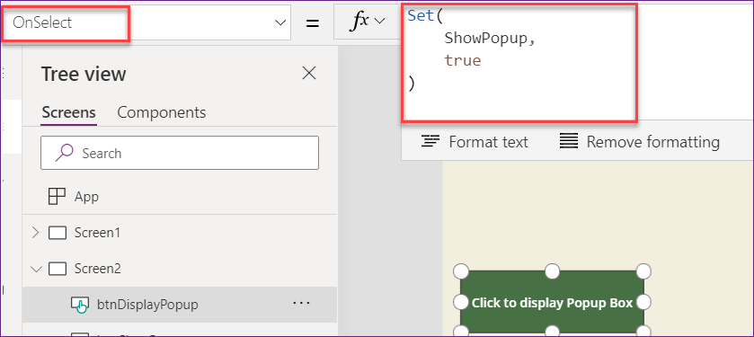 Popup on Button click in Power Apps