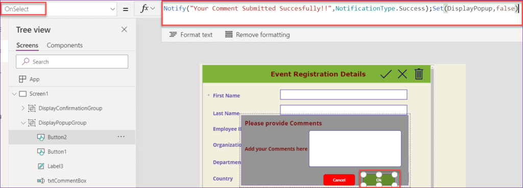 Popup on Button click in PowerApps