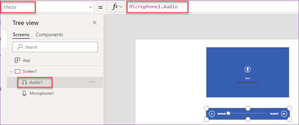 Power apps Microphone control