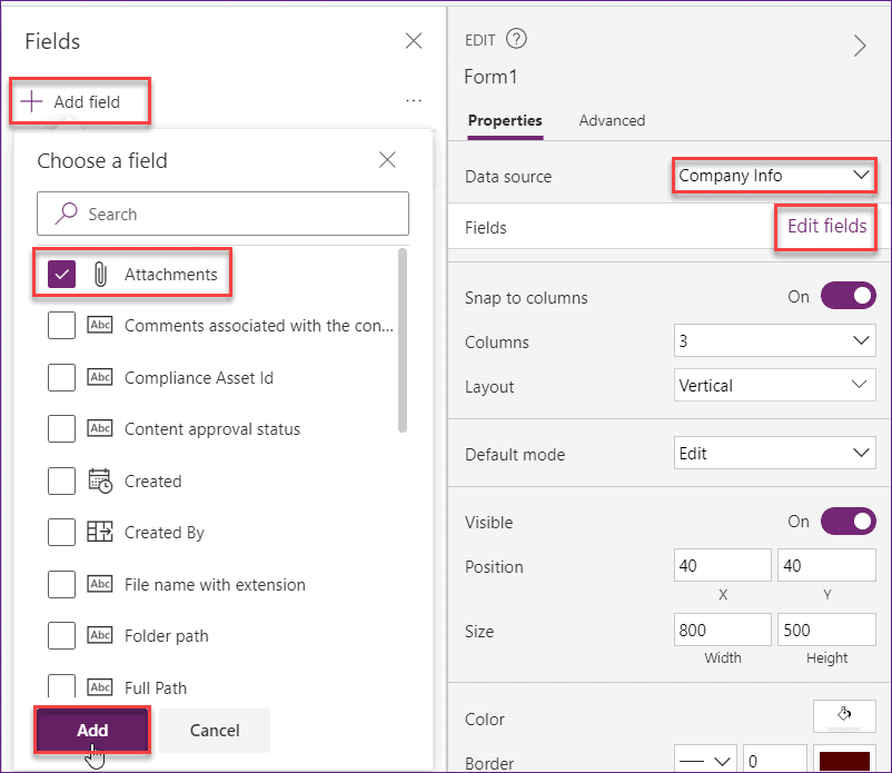 Powerapps Attachment Control
