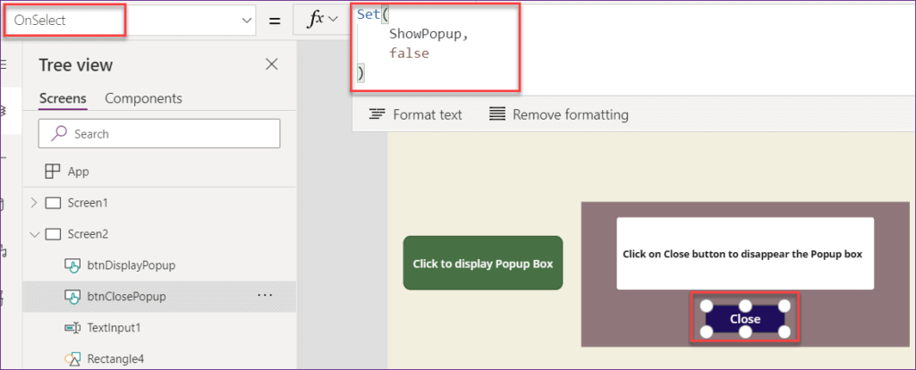 Powerapps Popup message on Button click