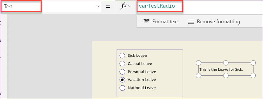 Powerapps Radio button OnSelect property