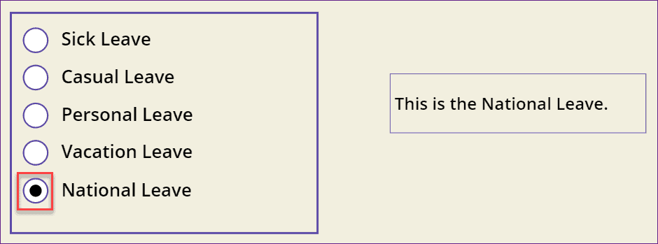 Powerapps Radio button control OnSelect