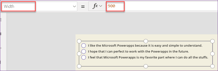 Powerapps Radio button control alignment