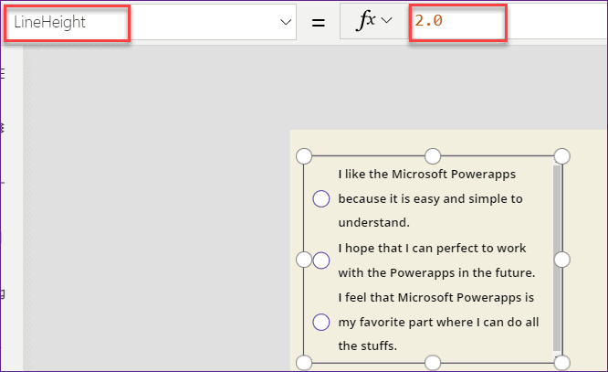 Powerapps Radio button control alignments