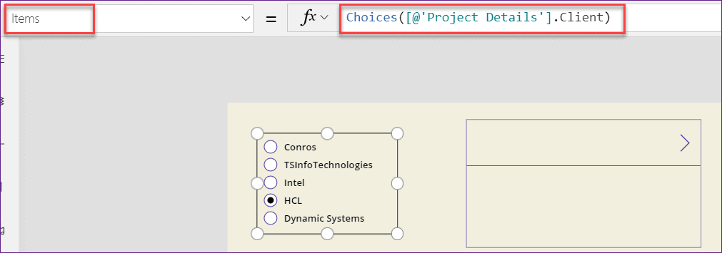 Powerapps Radio button filter