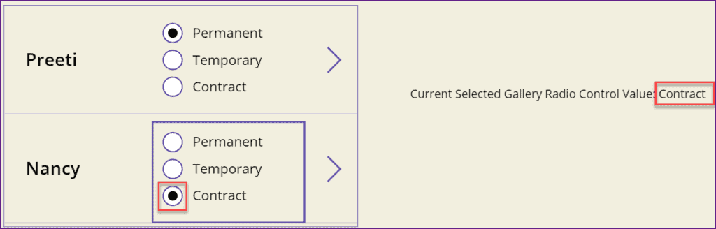 Powerapps Radio button in the gallery control