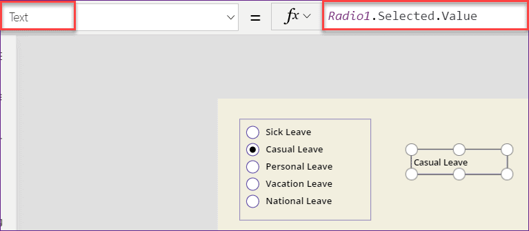 Powerapps Radio button selected value