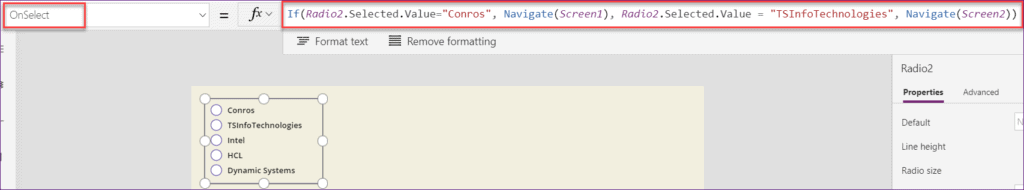 Powerapps Radio button selected values
