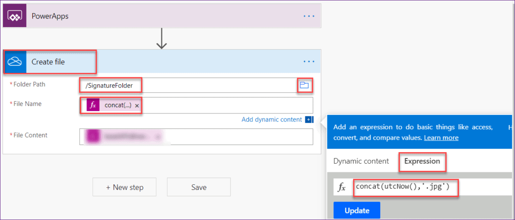 Powerapps save signature to onedrive