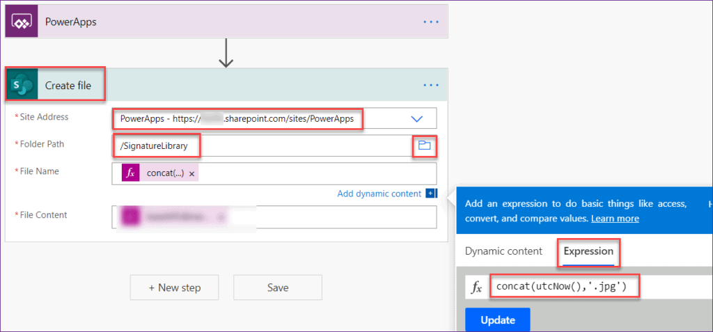 Save Powerapps signature to SharePoint Library