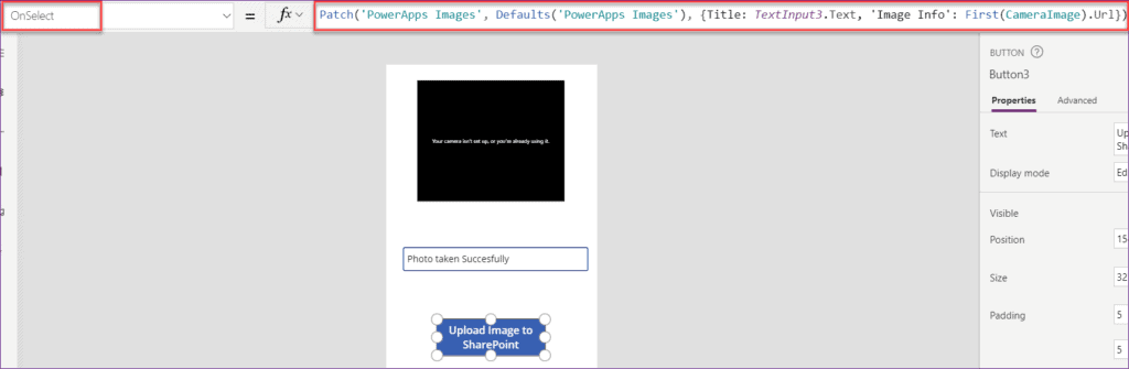 Save captured image in SharePoint without Powerapps flow