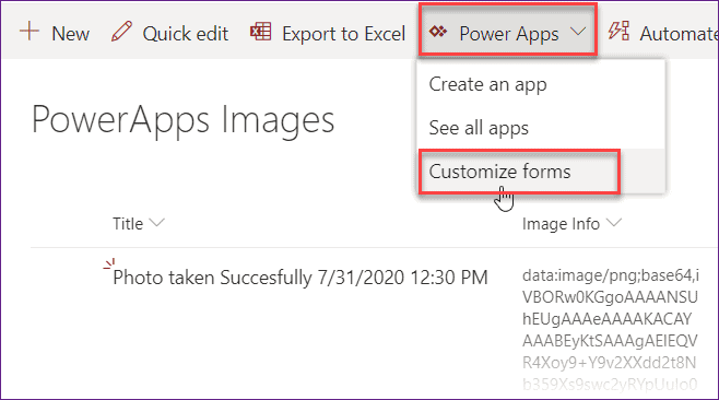 Save image in SharePoint list without using Power apps flow