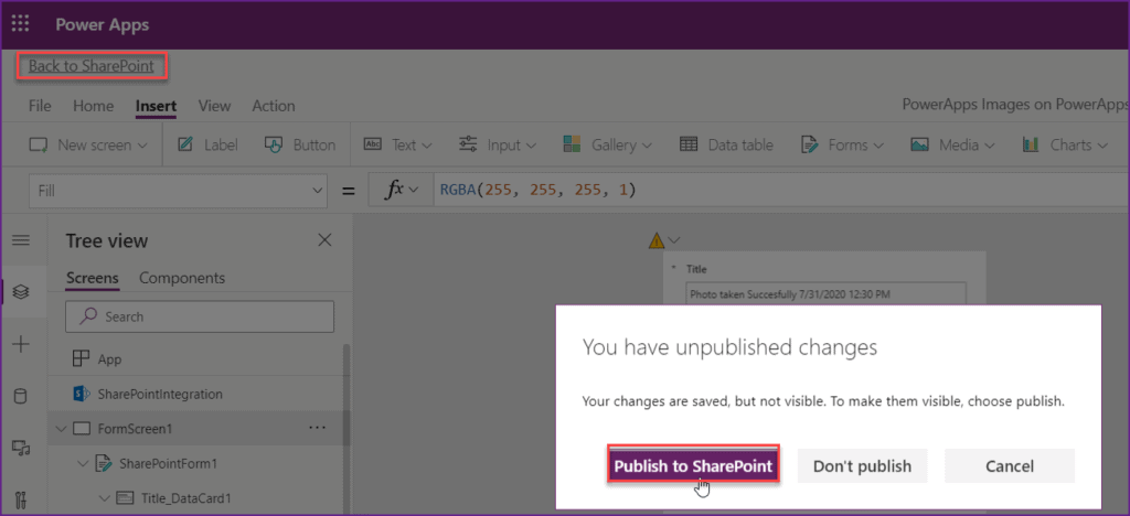 Save image in SharePoint without using Power apps flow