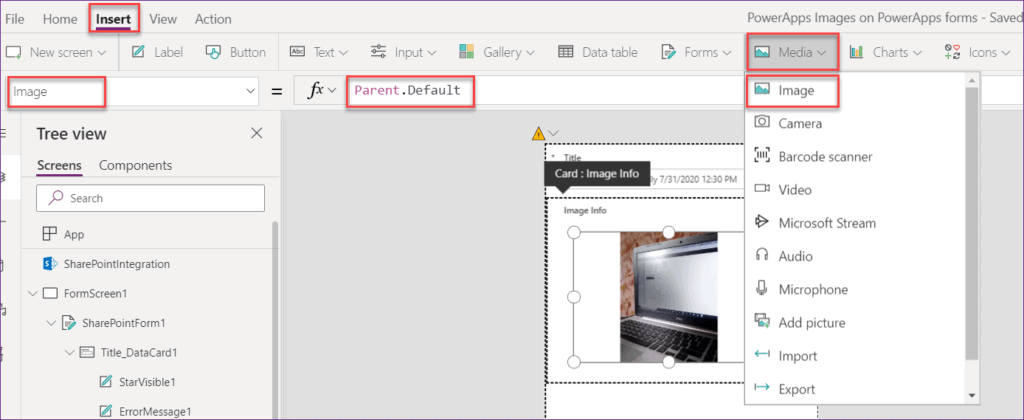 Save image in SharePoint without using Powerapps flow
