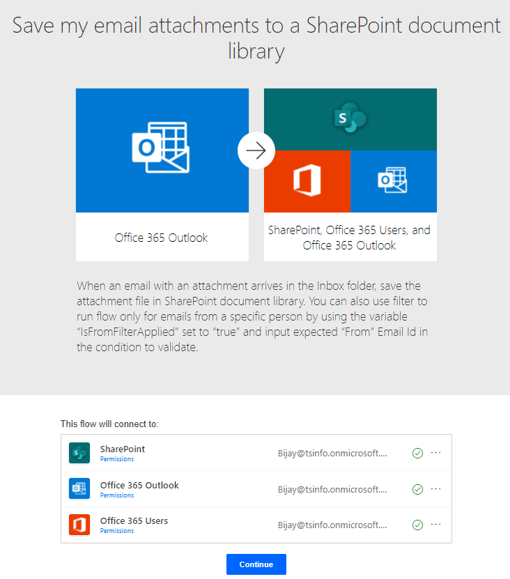 Save my email attachments to a SharePoint document library flow