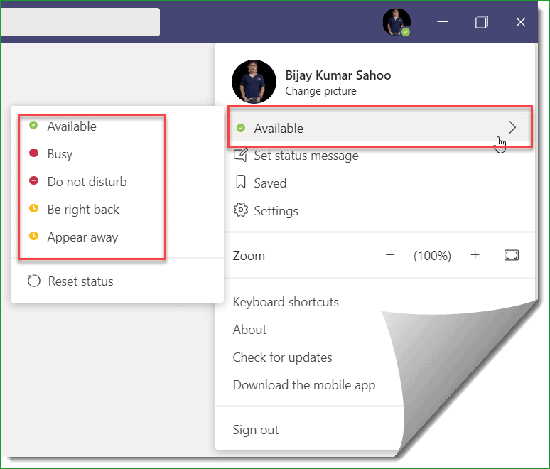 Set User Availability Settings in Microsoft Teams